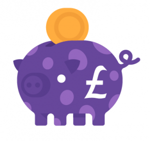 Purple pig plus coin and pound sign