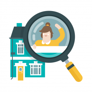 Where to search - house & magnifying glass (white background)