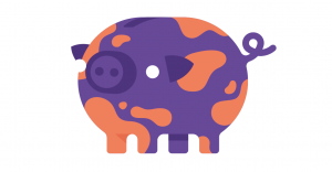 How you repay student loans -Purple camouflage pig