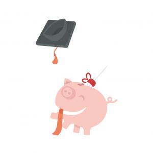 Graduate piggy - wb