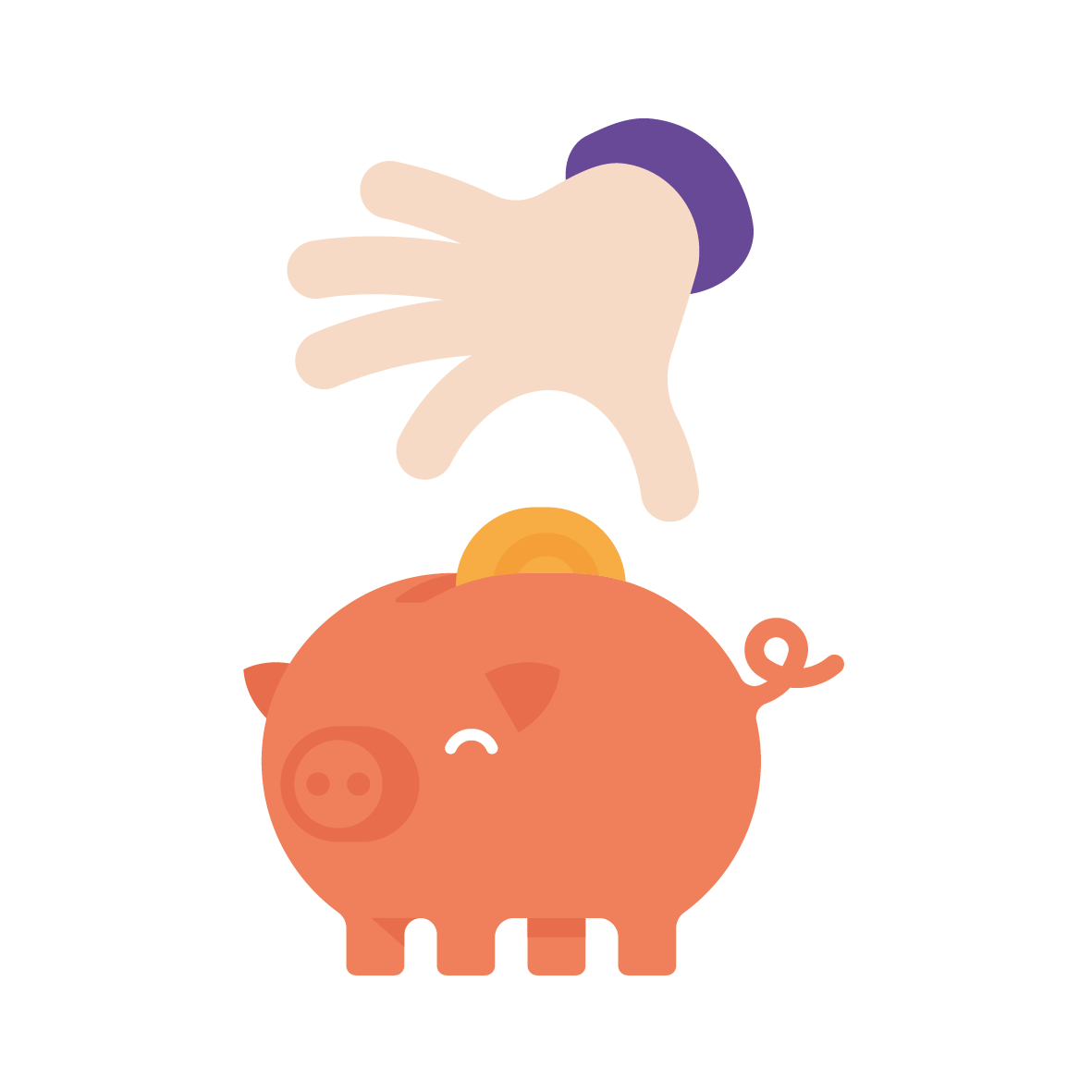 Orange winking piggy with hand -wb