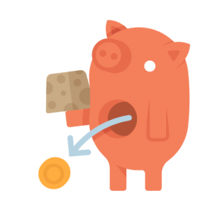 Orange Piggy with coin coming out