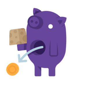 Purple Piggy with coin coming out