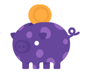 purple Pig with coin