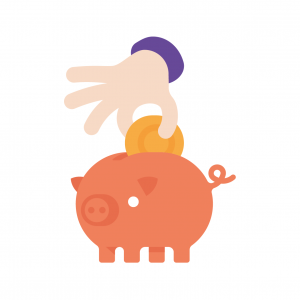 Putting money in piggy - wb