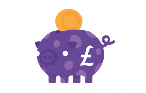 Purple pig coin & £ - cropped - wb