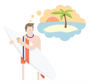 Savings goal - Surfer Dude dreaming of holida