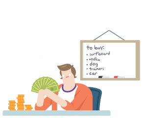 Budgeting man with list