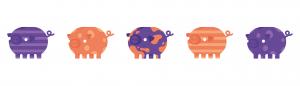 Piggy line-up - wb