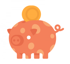 Pig orange spotty with coin