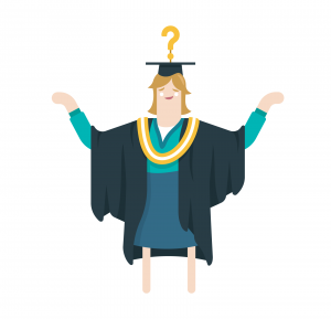 Girl With Question Mark Graduate Hat