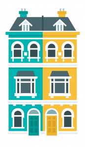 Extra-double-house-teal & yellow png
