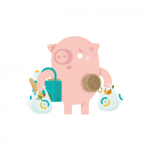Shopping pig - teal - wh bkgrd