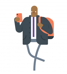 Man with mobile phone and backpack wb
