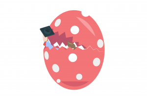 Egg hatching with graduate inside