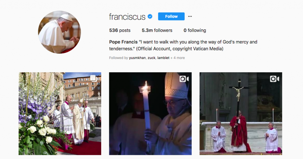 Pope Francis Instagram