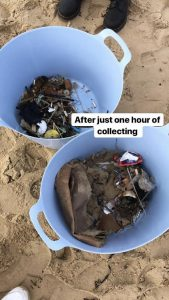 Beach Clean rubbish after 1 hour