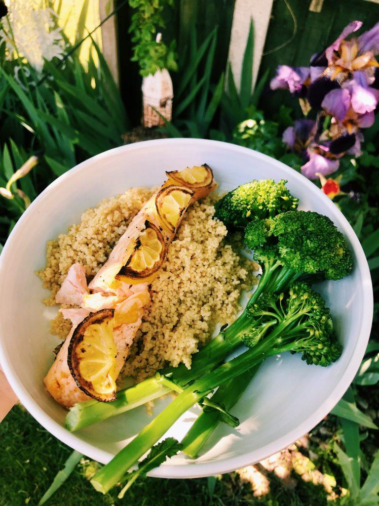 Salmon fillet, couscous, broccoli