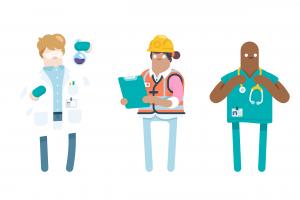 Group of scientist builder doctor