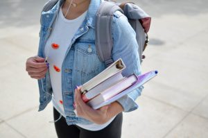 Student in denim jacket