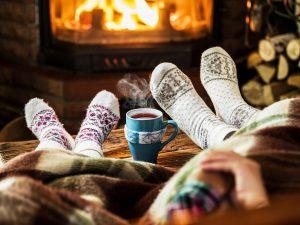 Hygge - cosy socks, warm drinks by the fire